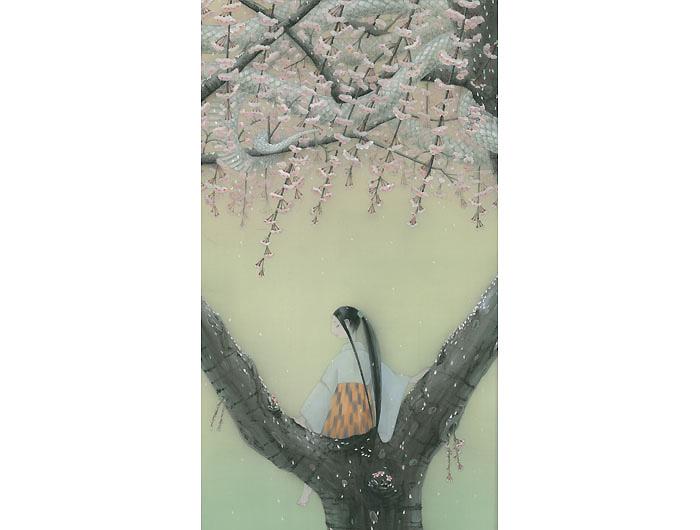 花に匿す(絹本着彩)2016
